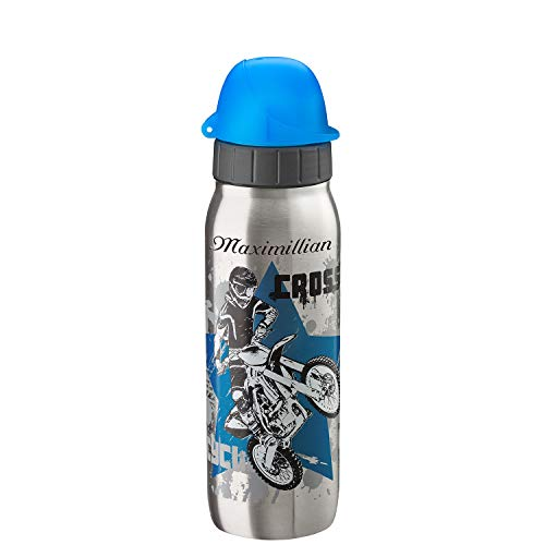 Emsa Trinkflasche Drink2Go Iso2Go 500 ml Teens Motocross mit Laser-Gravur Edelstahl auslaufsicher