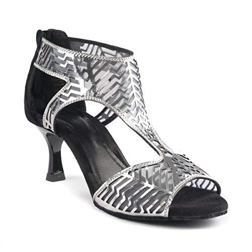 PortDance Damen Tanzschuhe Salsa Tango Sandalette PD813 Pro - Farbe: Schwarz/Silber - Absatz: 5 cm Flare (klein) - Größe: EUR 39
