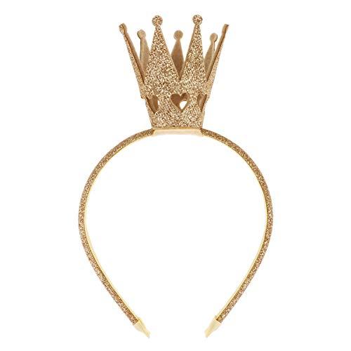 Freebily Glitzer Prinzessin Krone Haarreif Strass Kristall Krone Stirnband Haarband Diadem Tiara Haarschmuck Geburtstag Hochzeit Party Kostüm Zubehör Gold One Size