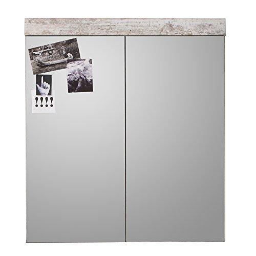 trendteam 1259-405-68 Badezimmerspiegelschrank in Canyon weiß Pine, 72 x 79 x 17 cm