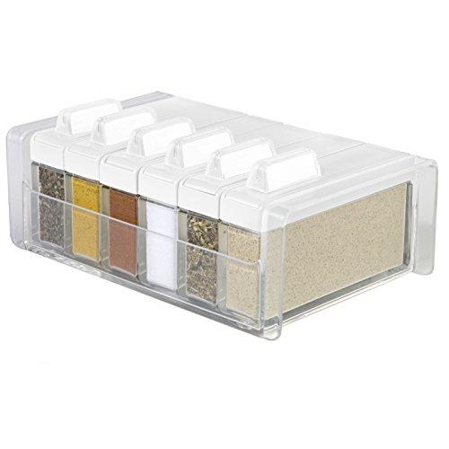 Emsa 508457 Gewürz-Kartei 6 Gewürze, 0,075 Liter, weiß/transparent