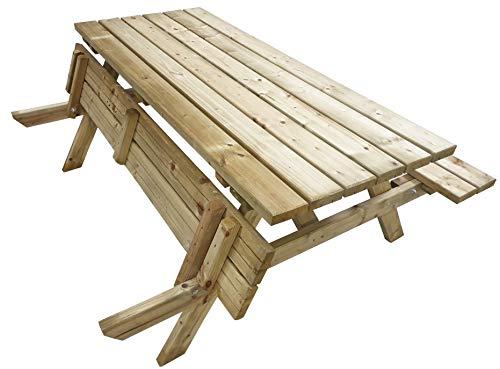 Atlantis   180 cm Picknicktisch Holz   6 Personen   50 KG (!)   Gastro-Qualität   Klappbaren Sitzflächen   Robust   Gartentisch, Tisch mit 2 Sitzbänken, Biergartengarnitur, Biertisch