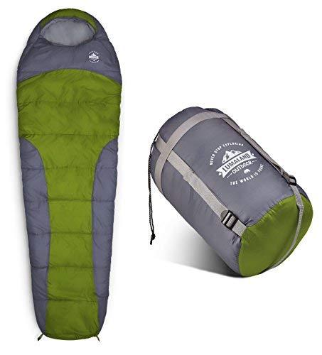 Lumaland Where Tomorrow Schlafsack Mumienschlafsack 230 x 80 cm - inkl. Packsack - 50 x 25 cm gepackt -für Outdoor Camping, Wandern, Backpacking - Hellgrün