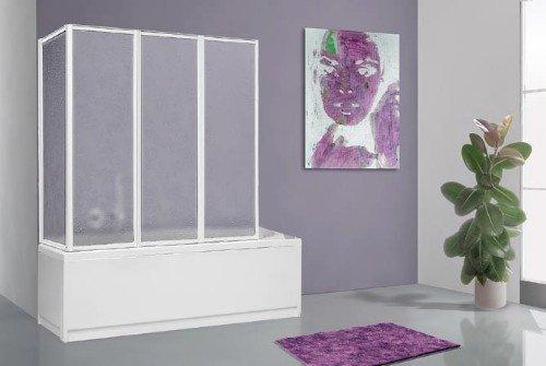 Duschwand für Badewanne, faltbar, Länge: 68cm + 133 cm, Höhe: 140cm, Aluminium, weiß und acrylfarben.