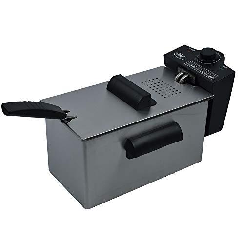 Elta Edelstahl Fritteuse DF-2100 (3L, Edelstahl Gehäuse, beschichteter Öl Tank, Frittier-Korb mit Griff, 2100 Watt)