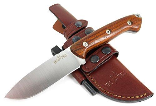 JEO-TEC Nº31 Premium Qualität - Professionell Überlebensmesser, Gürtelmesser, Outdoormesser, Survival Messer, Jagdmesser. Stahl MOVA-58. Lederscheide + Feuerstahl