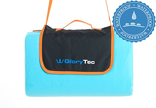 Glorytec Picknickdecke 200x200 cm - Extra groß & 100% wasserdicht - mit praktischem Trage- & Schultegurt - angenehm weiche Fleece Oberfläche - leicht faltbar