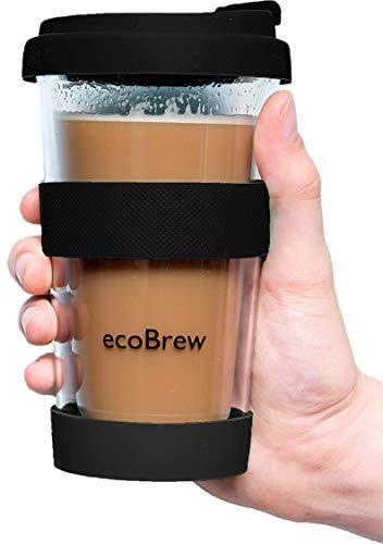 Glas Kaffeebecher to Go | Doppelwandig Isolierung Kaffeetasse | 340 ml Travel Mug mit sicherem Silikon Deckel | Coffee Becher für zu Hause, Büro oder Auto | Schwarz