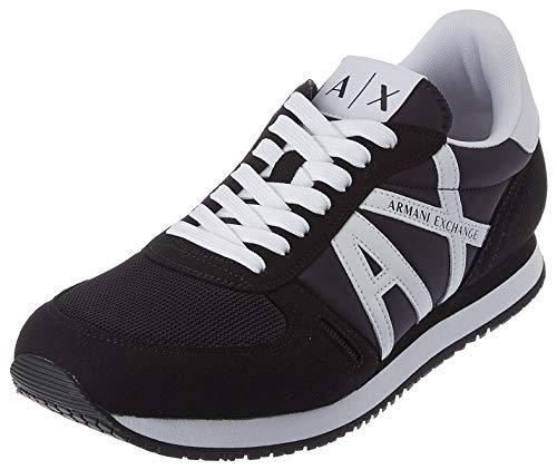 Armani Exchange Herren Micro Suede Multicolor Sneakers Sneaker, Black White, 43 EU