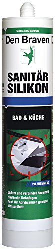 Den Braven Sanitär Silikon, 300 ml, pilzhemmend, wasserdicht, hohe Elastizität, Made in Germany, transparent, CSP33A100001