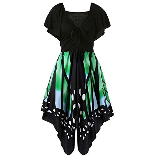 OverDose Damen boho ärmellos sommerkleid Frauen Sleeveless Schmetterlings Drucken Asymmetrie Bügel Kleid Butterfly tube kleid strandkleider partykleid abendkleid minikleid (S, Y-Grün)