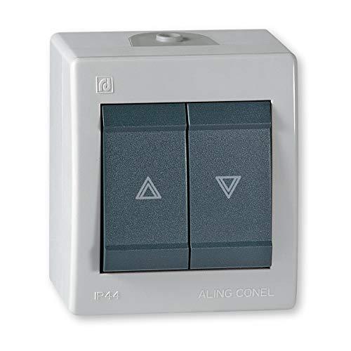 ALING-CONEL | All-in-One Aufputz Jalousientaster | Rolladenschalter - Grau / Anthrazit | 10AX/250V~ / IP 44 | Serie: Power Line | Art.-Nr. PL003-257.1A