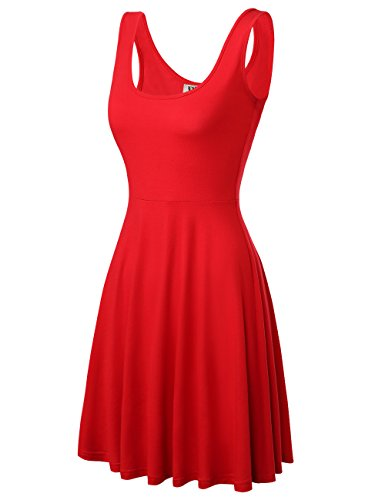 DJT Damen Vintage Sommerkleid Traeger mit Flatterndem Rock Blumenmuster Solide Rot L