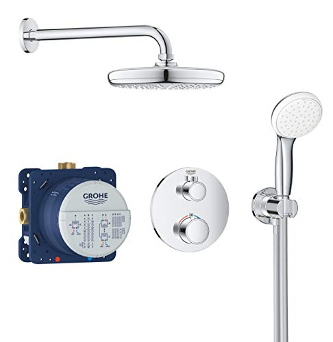 GROHE Grohtherm | Brause- & Duschsystem - Komplettset, inkl. Thermostat, Rapido SmartBox, Kopfbrause, Handbrause u. Brauseschlauch |chrom | 34727000
