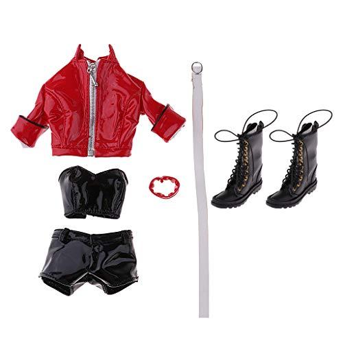 sharprepublic PU Lederjacke Lederhose Mantel Weste Schuhen weibliche Puppe Kleidung für 12 Zoll Action Figuren