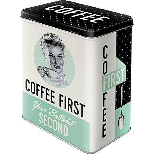 Nostalgic-Art 30146 Aufbewahrungs-Box | Kaffee Blech-Dose | Metall Vorratsdose L, Say it 50's-Coffee First, 10 x 14 x 20 cm