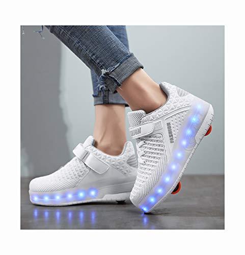 INSISTON LED Rollschuhe mit Räder, Roller Skate Schuhe Sneakers Kinder Schuhe mit Rollen, Outdoorschuhe Gymnastik Mode Turnschuhe für Kinder Mädchen Junge Erwachsene,34