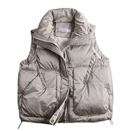 SFF Outdoorweste Frauen gepolsterte Kurze Weste Jacke Reiseweste Daunenweste Gewicht Kugelweste Oberbekleidung Das Neue Warm (Color : Grey, Größe : Medium)