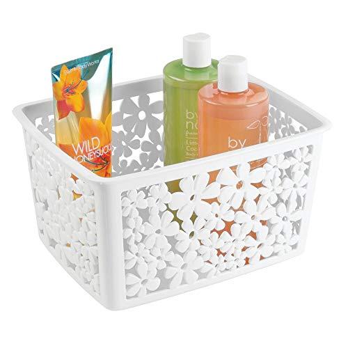 mDesign Badkorb für Ihr Badezimmerzubehör – Aufbewahrungskorb für Badutensilien wie Shampoo, Kosmetik und andere Beautyprodukte – Farbe: weiß
