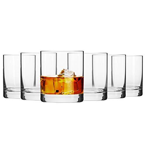 Krosno Whisky-Gläser Tumbler   Set von 6   300 ML   Blended Kollektion   Perfekt für Zuhause, Restaurants und Partys   Spülmaschinenfest