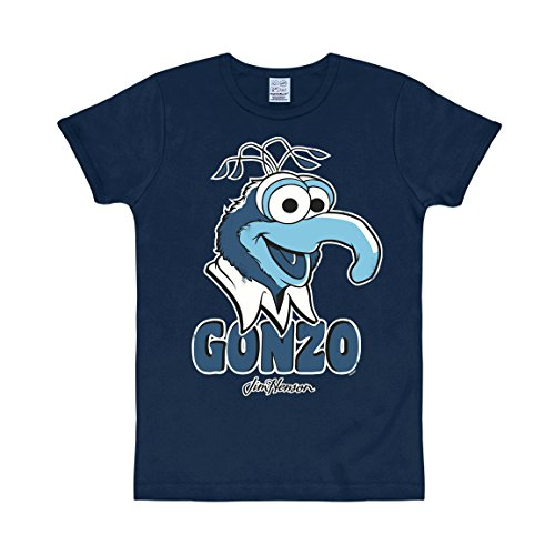 Logoshirt Herren Muppets - Gonzo Freizeithemd, Blau (Navy), XS