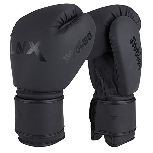 LNX Boxhandschuhe MT-One speziell für Muay Thai Kickboxen 10 12 14 16 Oz Sparring und Training UVM ultimatte Black (001) 14 Oz