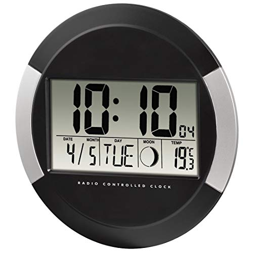 Hama Wanduhr Digital mit Funk PP-245 (Funkuhr ohne tickgeräusche, Digitaluhr mit LCD-Display, Thermometer, Kalender, Mondphase, inkl. Batterie zum aufhängen oder hinstellen) schwarz- silber