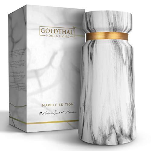 Goldthal® Keramik Vase im Boho Style - schlicht & modern - ideal zur Aufbewahrung von Blumen, Pampasgras & Anderen Deko-Elementen - weiße Marmor-Optik in matt mit Gold-Ring