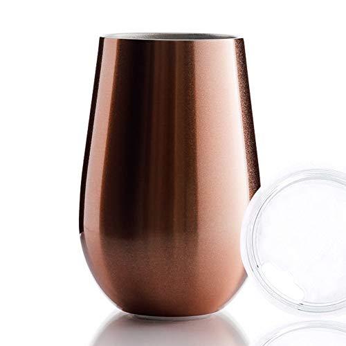 BOHORIA® Premium Edelstahl Isolierbecher | Thermo-Becher | Wein-Glas to go | Cocktail-Glas | Doppelwandig & Vakuumisoliert – (350ml) | Reisebecher mit Deckel für Kaffee, Tee (Rose Gold)