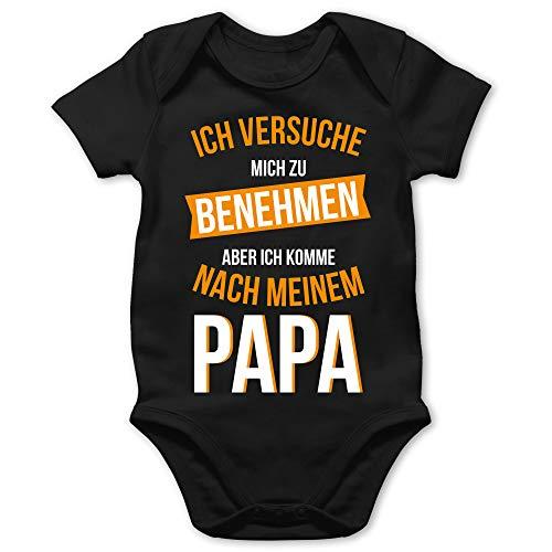 Shirtracer Sprüche Baby - Ich versuche Mich zu benehmen Papa orange - 12/18 Monate - Schwarz - Papa Strampler Baby - BZ10 - Baby Body Kurzarm für Jungen und Mädchen