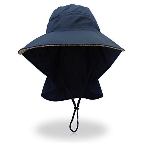 Laowwo Sonnenhut, Outback Anglerhut mit UV-Schutzfaktor 50+, breite Krempe, schnell trocknend, mit Halsklappe, für Männer/Frauen, Outdoor, Wandern, Trekking, Jagd Gr. Einheitsgröße, blau