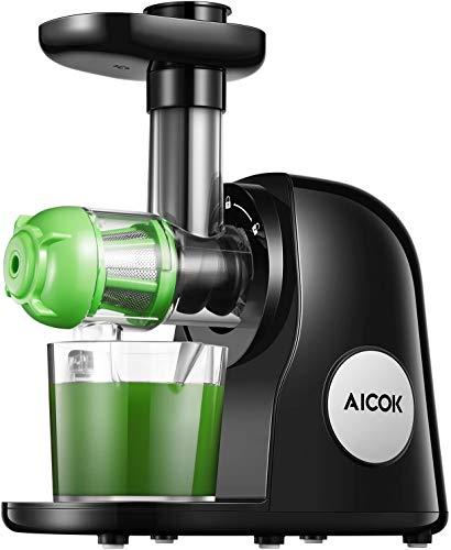 Aicok Slow Juicer BPA-frei Entsafter Gemüse und Obst, Entsafter mit Ruhiger Motor & Umkehrfunktion, Saftkanne & 2 Filter & Reinigungsbürste, 150W