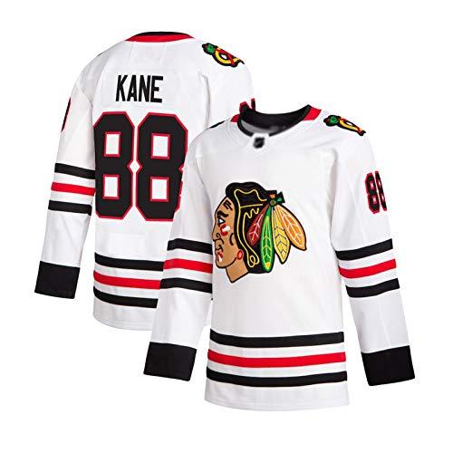 NHICR Kȧne blȧċkhȧwkṡ Männer EIS Eishockey Trikots Sportswear Langarm Sweatshirts Fan T-Shirts Atmungsaktiv, Stickerei Übung Fitness Tops # 88 Hockey Team Spiel Jersey KOM XXL