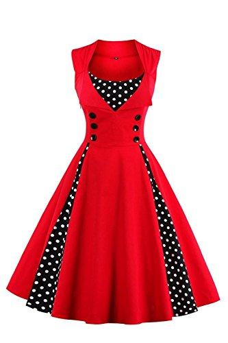 Axoe Damen 50er Jahre Cocktailkleid Rockabilly Elegantes Faltenrock Festliches Partykleider Vintage Kleid Audrey Hepburn Abendkleider mit Polka Dots Knielang, Rot-schwarz, M (38 EU)