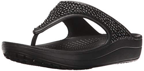 Crocs Damen Sloane Embellished Flip Plateau Sandalen, Schwarz (Black 060), 37/38 EU