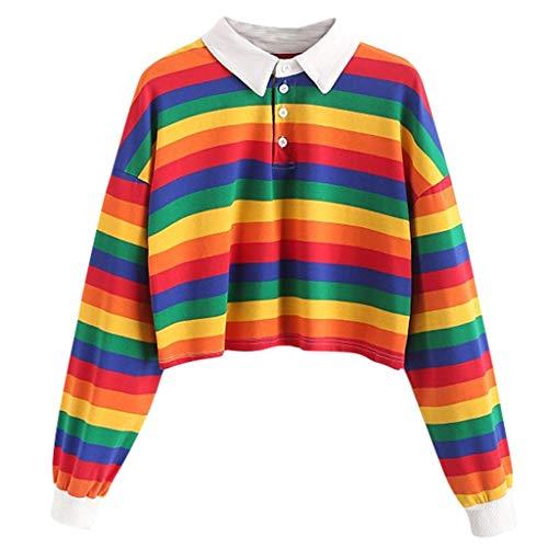 Dasongff Damen Mädchen Sweatshirt Pulli Regenbogen Gestreift Patchwork Poloshirt Bunt Pullover Blusen Modisch Langarmshirt Dating Outing Stil Casual Dünne Langarmshirt Crop Tops
