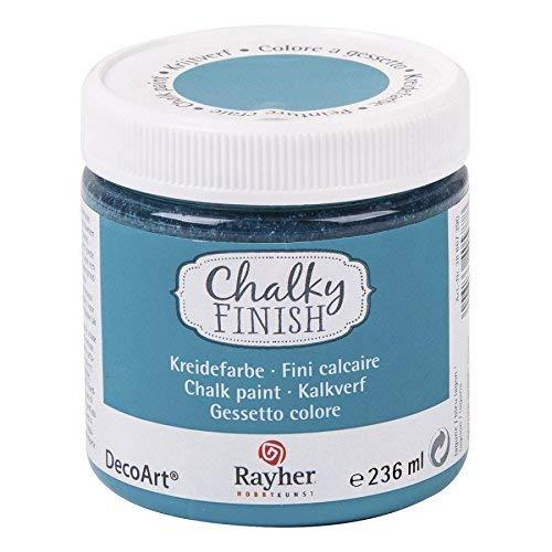 RAYHER HOBBY 38868390 Chalky Finish auf Wasser-Basis, Kreide-Farbe für Shabby-Chic-, Vintage- und Landhaus-Stil-Looks, 236 ml, lagune