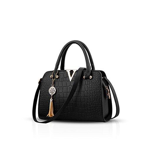 NICOLE&DORIS Mode Frauen Handtaschen Umhängetasche Damenhandtaschen Henkeltaschen Schultertaschen Shopper PU Schwarz