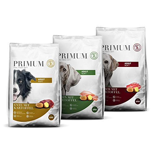 Primum | Soft Trio Probierpaket | 3 x 5 kg | Halbfeuchtes Hundefutter | Getreidefreies Trockenfutter | Mixpaket | Hoher Fleischanteil | Optimal verdaulich | Hypoallergen