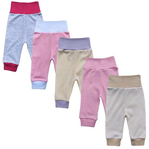 MEA BABY Unisex Baby Hose aus 100% Baumwolle im 5er Pack/ Pumphose. Babyhose für Jungen Baby Hose für Mädchen, Schlupfhose (74, Mädchen)