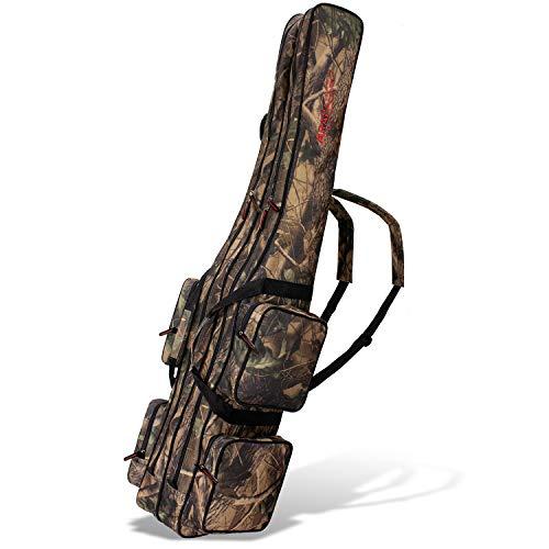Angel Tasche Futteral Rutentasche Fishing Rucksack - Camouflage 2 Innenfächer - 190 cm