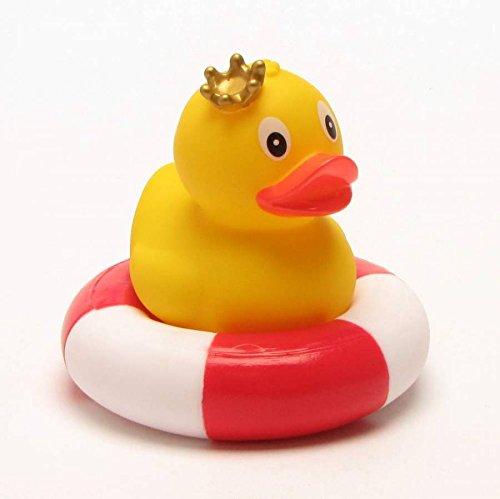 Duckshop I Steh-Badeente Prinzessin im Schwimmring I Quietscheente I H: 8 cm