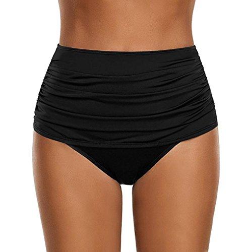 OverDose Damen Plus Größe Badehose Frauen hoch taillierte Badehose Geraffte Bikini Hosen Schwimmen Shorts Swim Shorts (Black,S)