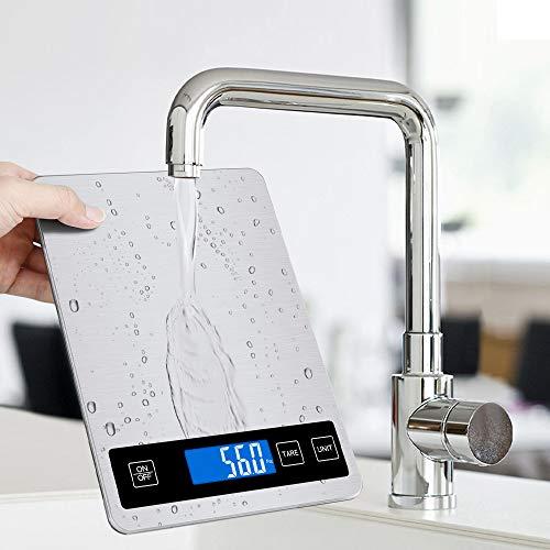 Jooheli Küchenwaage 15kg/1g Küchenwaage Digitalwaage Haushaltswaage digital mit Großer Edelstahl Wiegefläche, Hochpräzise Lebensmittelwaage Haushaltswaage(Silber)