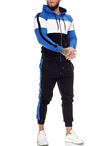 OneRedox | Herren Trainingsanzug | Jogginganzug | Sportanzug | Jogging Anzug | Hoodie-Sporthose | Jogging-Anzug | Trainings-Anzug | Jogging-Hose | Modell JG-1082 Blau-Weiss-Schwarz S