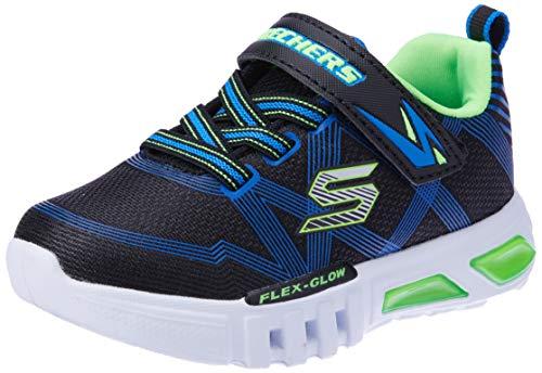 Skechers Boys' Flex-Glow Trainers, Black (Black Blue Lime Bblm), 12.5 UK 31 EU
