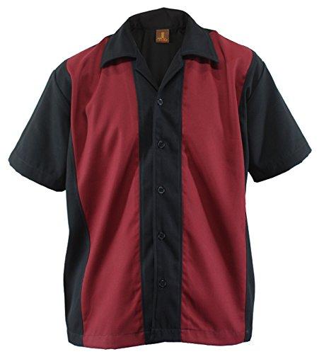 Bowling Shirt Worker Hemd Rockabilly Two Tone Gabardine Lounge Fifties Vintage Retro Double Panel (L/Large)