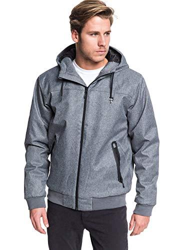 Quiksilver Herren Wasserdichte Kapuzenjacke Brooks 5K - Wasserdichte Jacke Für Männer, M Grey Heather, S, EQYJK03507