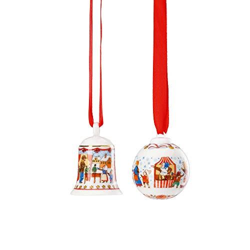 Hutschenreuther Weihnachtsmarkt-Höhe 5 cm/Ø 4,5 cm-limitiert auf 3.999 Exemplare Set Miniglocke/Minikugel, Porzellan, Bunt