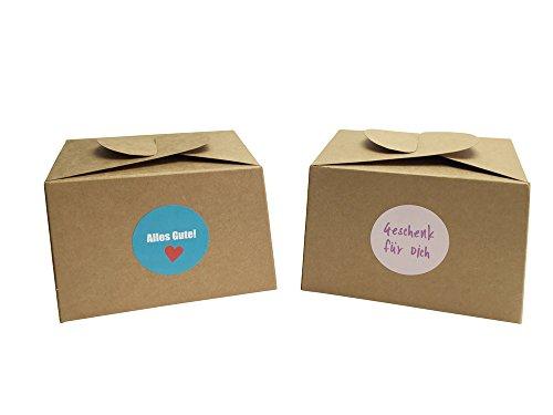EAST-WEST Trading GmbH 12 Boxen aus Naturkarton + 24 Geschenkaufkleber für Kuchen, Kekse, Cupcakes Aber auch Geschenke Aller Art